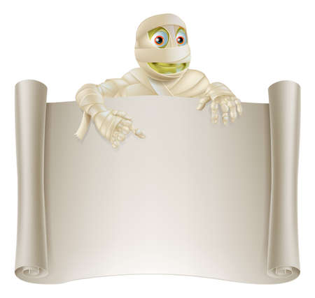 An illustration of a Halloween mummy character on top of a scroll sign or banner and pointing at it Vector