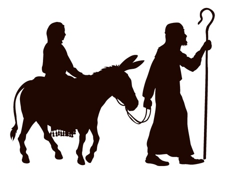 nativity: Silhouette illustrations of Mary and Joseph journeying with a donkey looking for a place to stay on Christmas Eve.