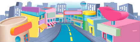 storefronts: An illustration of a of cartoon shopping street with lots of interesting shops