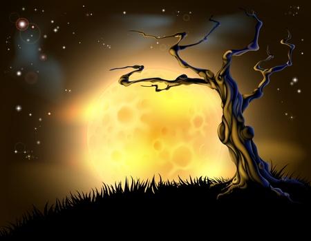 luna caricatura: Una escena de fondo spooky naranja de Halloween con la luna llena, nubes, colina y �rbol asustadizo