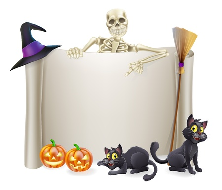 A Halloween scroll sign with a skeleton character above the banner and pumpkins and witch's cats, hat and broomstick Vector