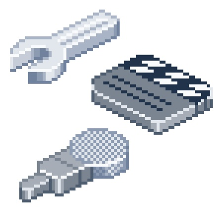 spaner: Some retro pixel style icons in isometric view. Spanner or wrench, film clapper-board and microphone icons. Illustration