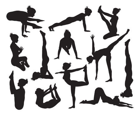 warrior pose: A set of highly detailed high quality yoga pose silhouettes Illustration