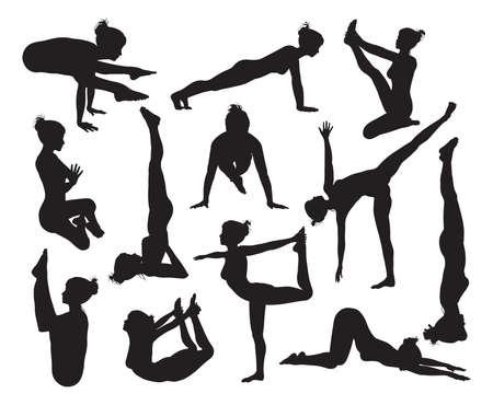 indian yoga: Un insieme di altamente dettagliate di yoga di alta qualit� pongono sagome