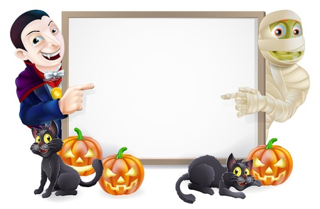 carved pumpkin: Halloween sign or banner with orange Halloween pumpkins and black witches cats, witchs broomstick and cartoon Dracula vampire and mummy characters