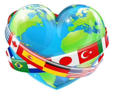 An illustration of a heart shaped world earth globe with the flags of many different countries flying around it.  Vector