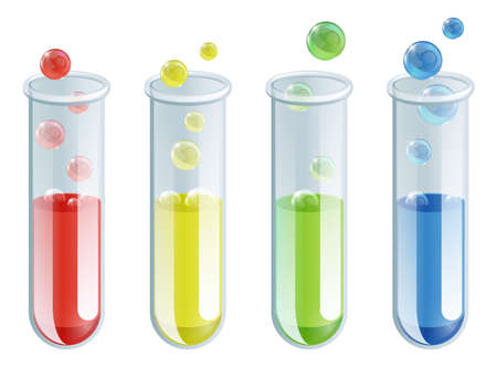 test glass: An illustration of four different coloured test tubes with bubbling liquid in them