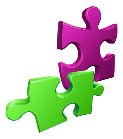 Illustration of shiny jigsaw puzzle pieces icon Vector