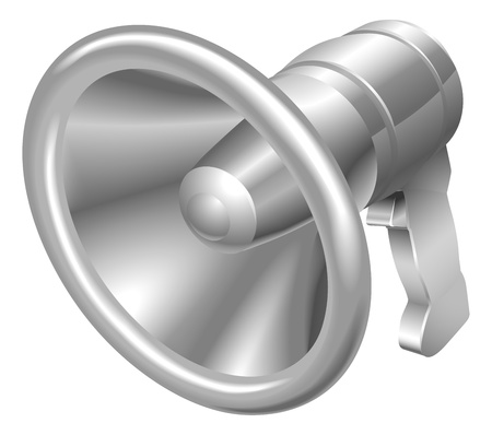 Illustration of shiny metal steel megaphone bullhorn icon Vector