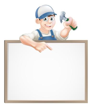 выглядывал: Плотник или конструктор проведения гвоздодер и выглядывал над знаком и указывая Иллюстрация