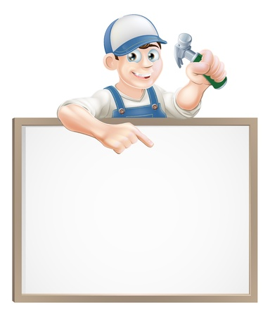 property: A carpenter or builder holding a claw hammer and peeking over a sign and pointing