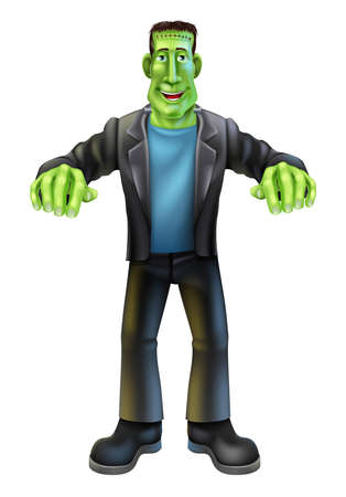 A Halloween cartoon Frankenstein monster character standing with his arms out in classic horror movie pose Vector