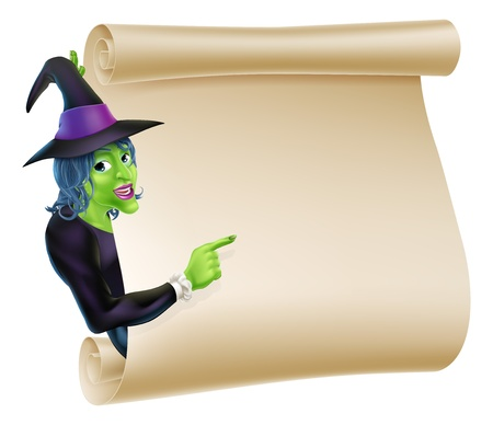 An illustration of a Halloween witch character peeping round a scroll sign or banner and pointing at it Vector