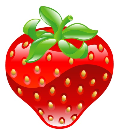 Illustration of shiny strawberry icon clipaart Vector