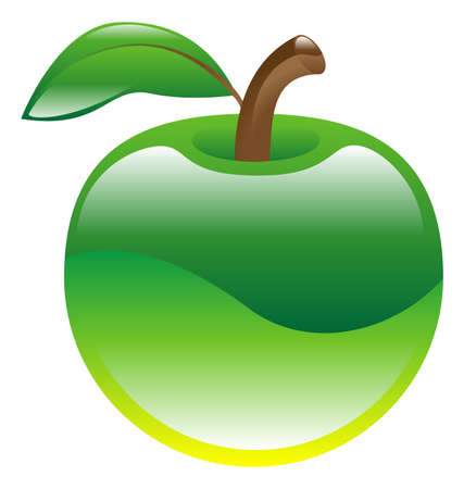 Illustration of green apple fruit icon clipart Vector