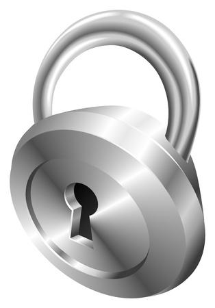 Illustration of shiny metal steel  padlock icon Stock Vector - 21683572