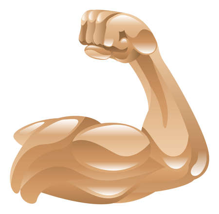Strong muscle arm icon clipart illustration Vector