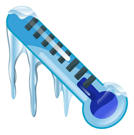 cold weather: Weather icon clipart freezing cold thermometer  illustration
