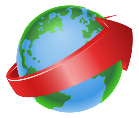 Illustration of a spinning globe with red arrow around it Vector