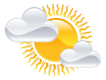 Weather icon clipart sun and clouds illustration Stock Vector - 21683600