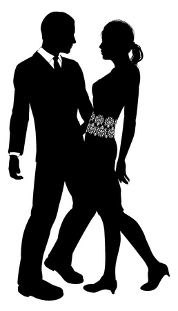sexy bride: Fashion design silhouette of an attractive young couple embracing