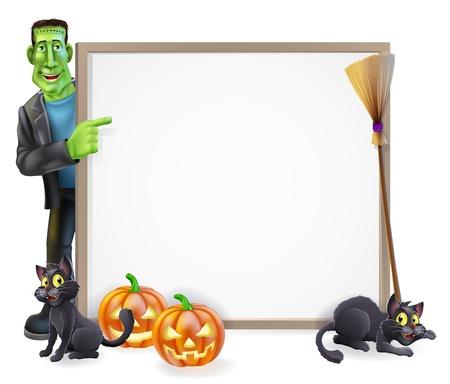 carve: Signo de Halloween o una pancarta con naranja calabazas de Halloween y negro bruja Vectores