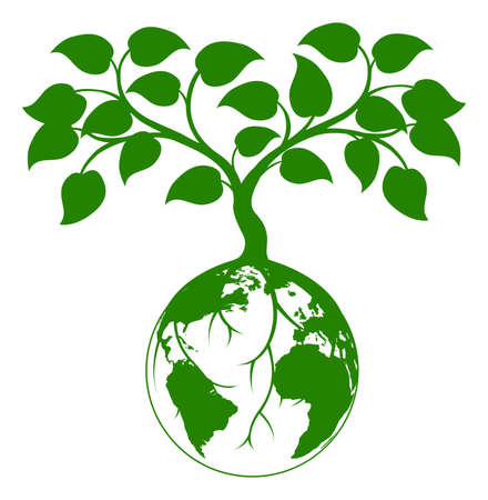 grow: Illustration of a tree growing with its roots round the earth or growing out of the earth
