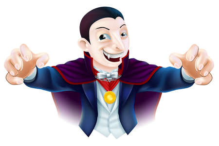 cartoon vampire: An illustration of a cute cartoon Count Dracula vampire character for Halloween Illustration