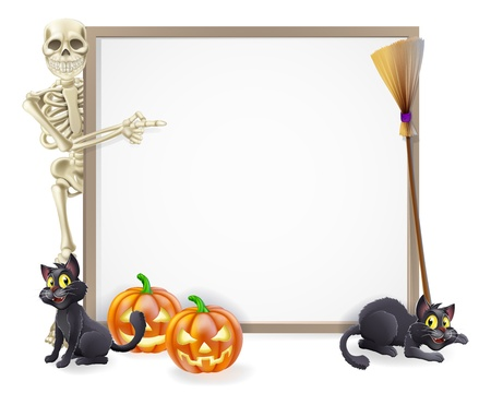 skeleton: Halloween sign or banner with orange Halloween pumpkins and black witch