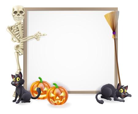 helloween: Halloween teken of banner met oranje Halloween pompoenen en zwarte heks Stock Illustratie