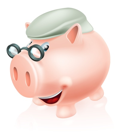 social security: Pension plan savings concept, a piggy bank dressed as a senior adult  Concept for saving for your future or pension  Illustration