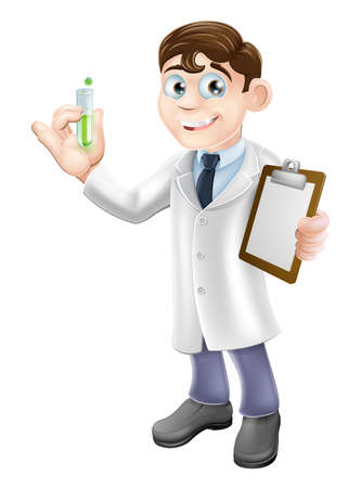 An illustration of a cartoon scientist holding a test tube and clipboard in a white lab coat performing an experiment Vector