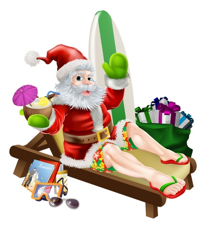 sumer: Christmas Santa Claus relaxing on the beach or by the pool wearing Bermuda or Hawaiian board shorts and flip flop sandals and enjoying a drink surrounded with his holiday items, gifts and surf board