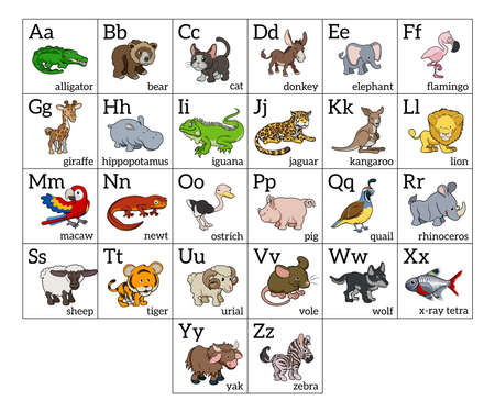 lowercase: Cartoon animal alphabet learning chart with a cartoon animal illustration for each letter and upper and lowercase letters and animal names
