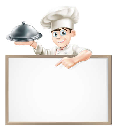 A cartoon chef holding a silver platter or cloche pointing at a banner or menu Vector