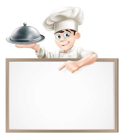cocina caricatura: Un cocinero de la historieta que sostiene una bandeja de plata o cloche apuntando a una bandera o en el men� Vectores