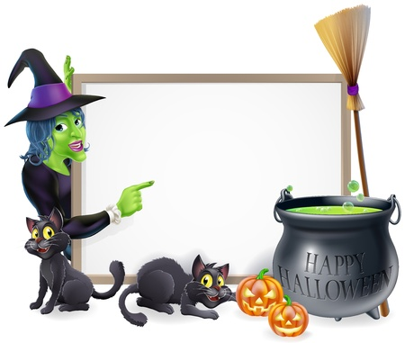 Halloween sign background with cartoon witch and happy Halloween cauldron Vector