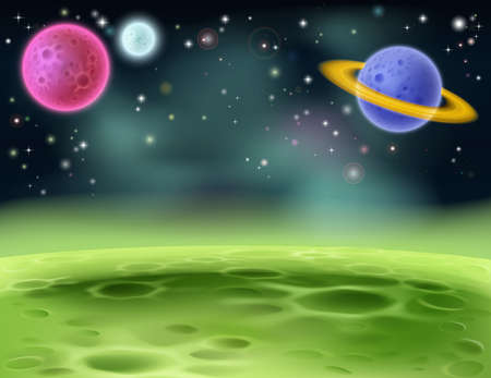 crater: An illustration of an outer space cartoon background with colorful planets