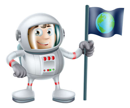 An illustration of a cute cartoon astronaut planting an earth flag Stock Vector - 21887222