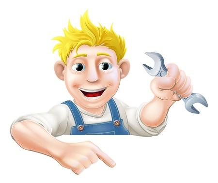 handy man: Un idraulico cartone animato o meccanico con una chiave a sbirciare oltre cartello o un banner e rivolto a lui