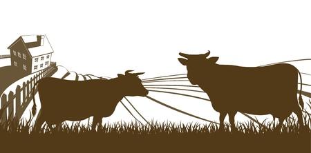 old barn: Fattoria di rotolamento colline paesaggio con fattoria e mucche in silhouette