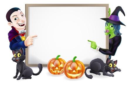 zucche halloween: Segno di Halloween o striscione arancione con zucche di Halloween e gatti di nero, strega, strega scopa bastone e cartoon Dracula e strega caratteri Vettoriali