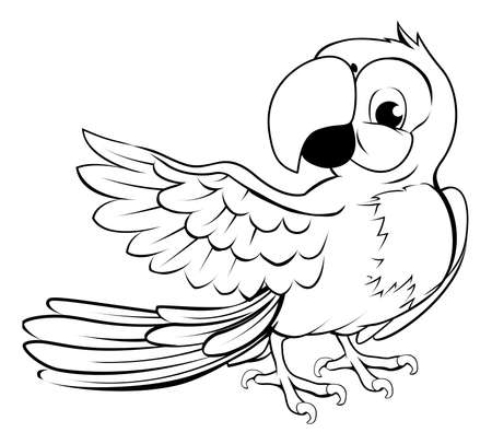 Cartoon parrot character in black outline pointing with its wing