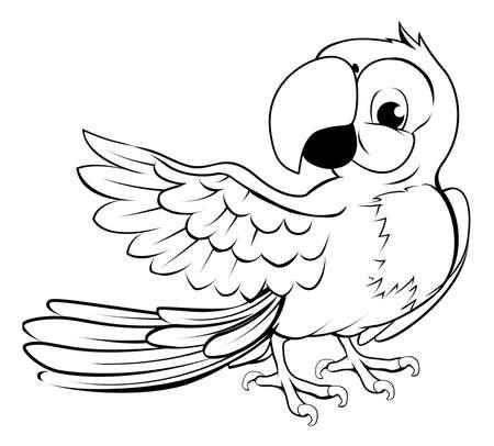 amerika papağanı: Kanatları siyah anahat işaret eden karikatür papağan karakteri