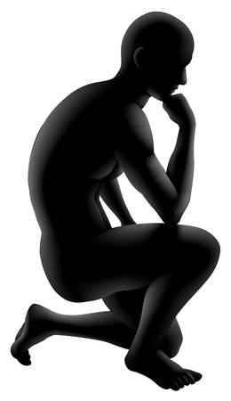 crouched: Silhouette man crouched in a thinker pose. Concept for any questioning or psychology, poetry or philosophy.