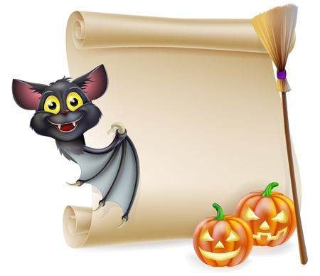 An illustration of a Halloween scroll with space for your message and witches cats and broomstick and cartoon bat Vector