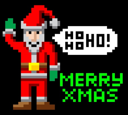 bit: Retro arcade 8-bit video game style pixel art Christmas Santa waving with Merry Xmas message