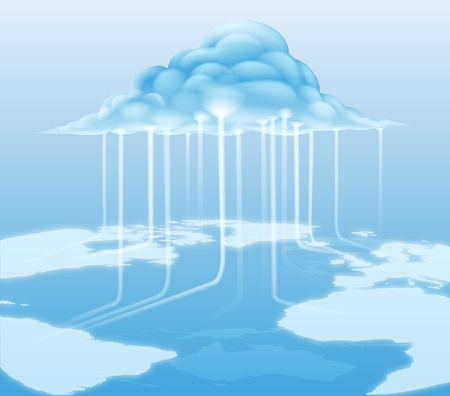 tecnology: A cloud computing internet concept with information flowing to and from the cloud