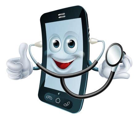 mobil: Illustratie van een cartoon telefoon karakter houden een stethoscoop