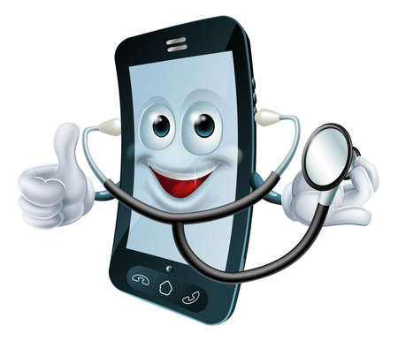 cellphone in hand: Illustration of a cartoon phone character holding a stethoscope Illustration